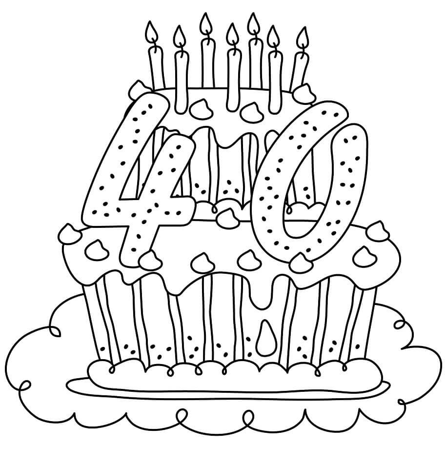 40 Years Old Birthday Cake