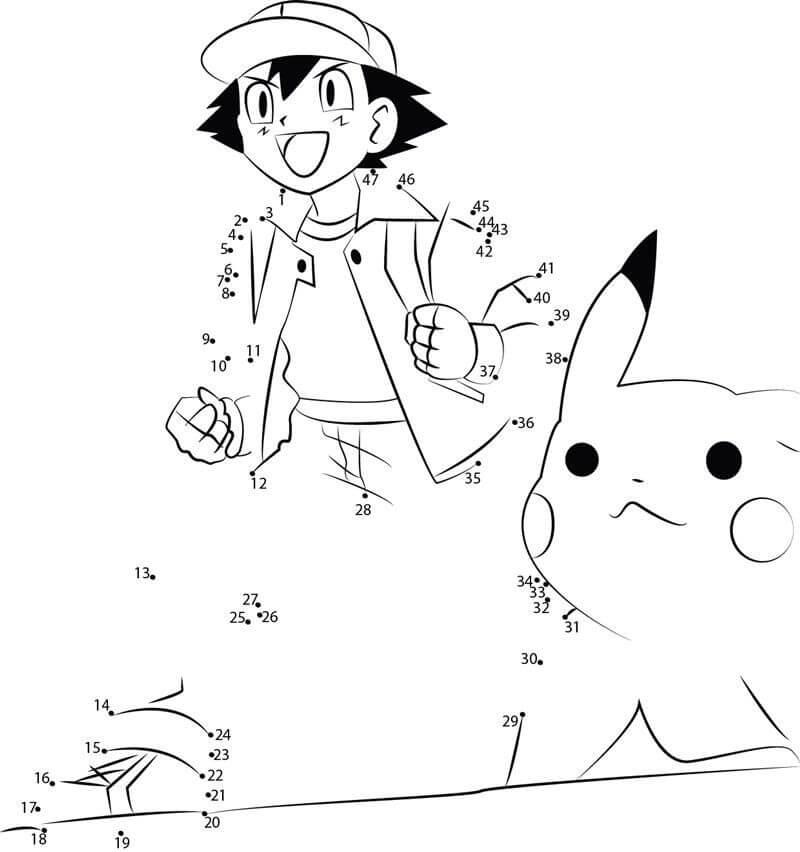 Ash and Pikachu Pokemon Dot to Dot