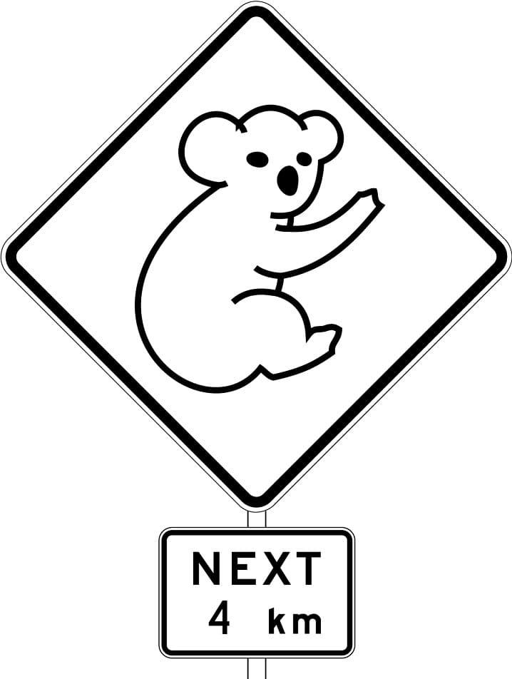 Australia Road Sign with Koala