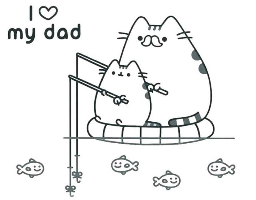 Baby Pusheen Fishing with Dad