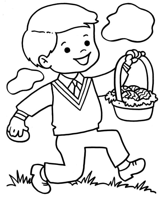 Boy Holding Easter Basket