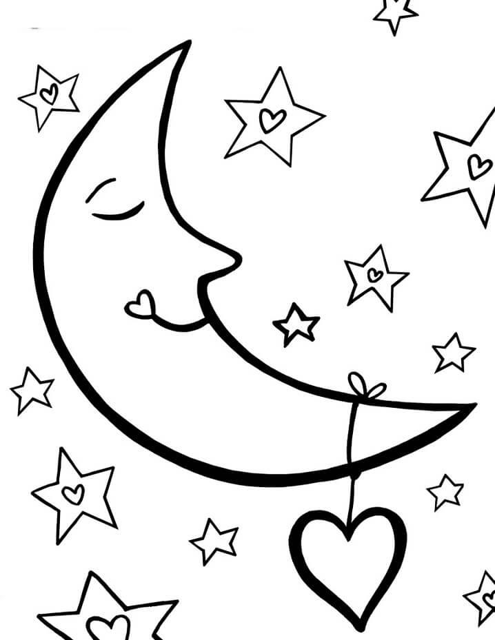 Cartoon Moon and Stars