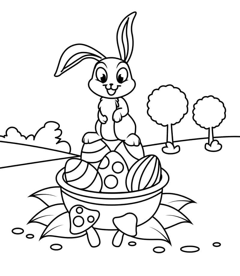 Cute Rabbit on Easter Basket