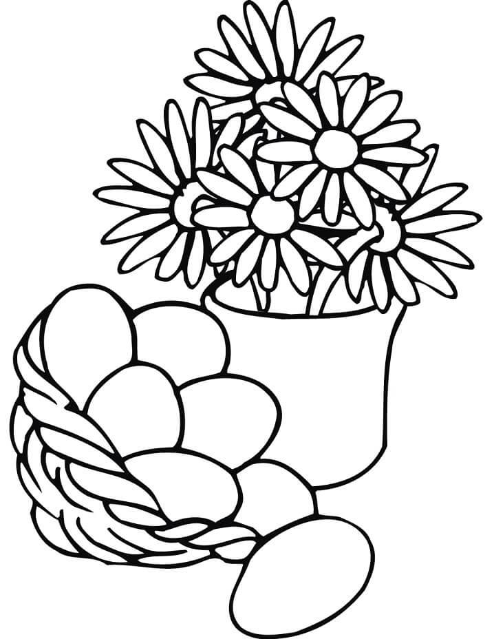 Easter Basket and Flowers Vase