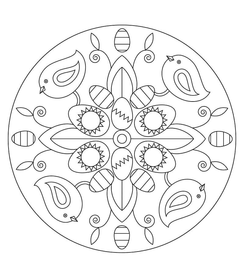 Easter Mandala with Birds