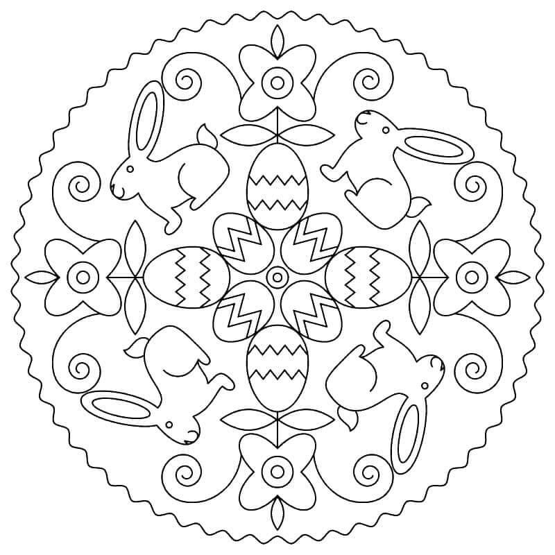 Easter Mandala with Bunnies