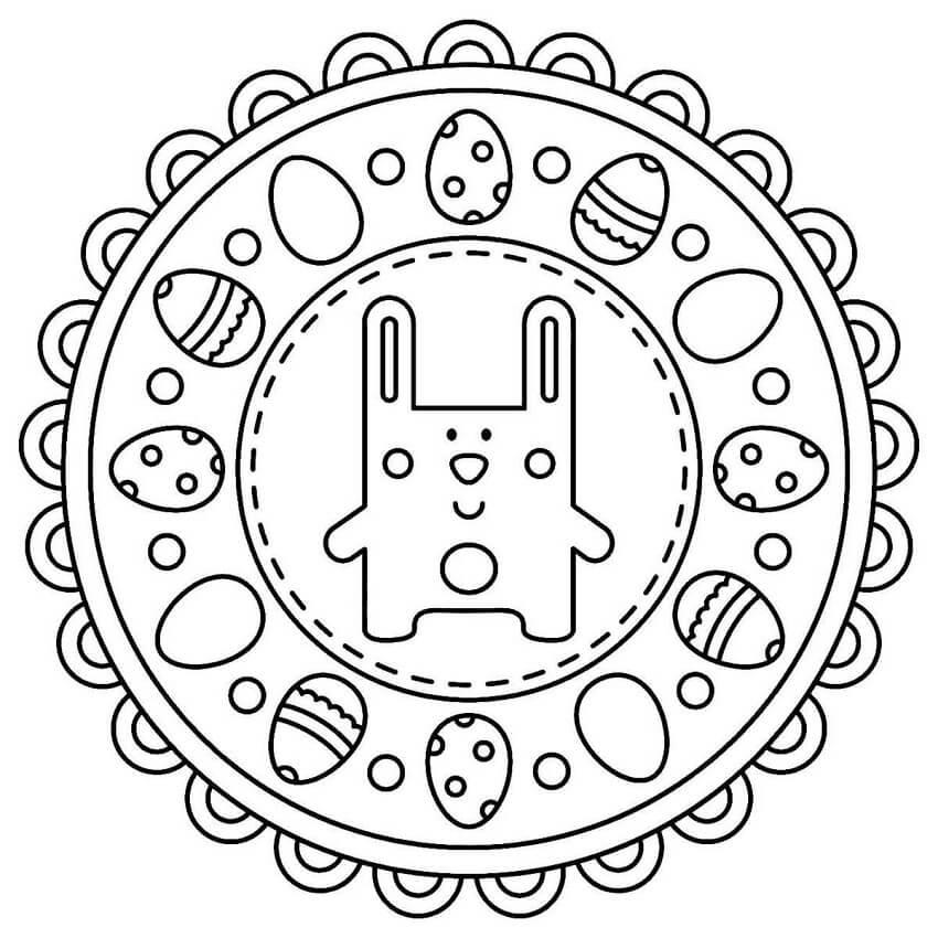 Easter Mandala with Cute Rabbit