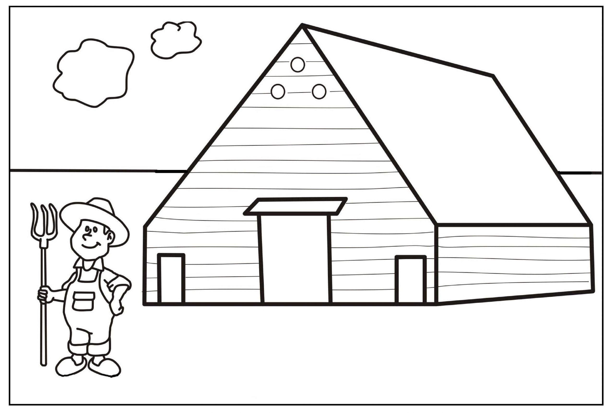 Farmer and House in a Farm