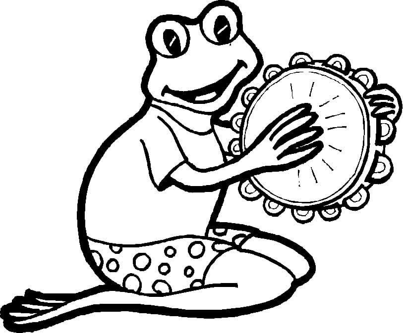 Frog Playing Tambourine