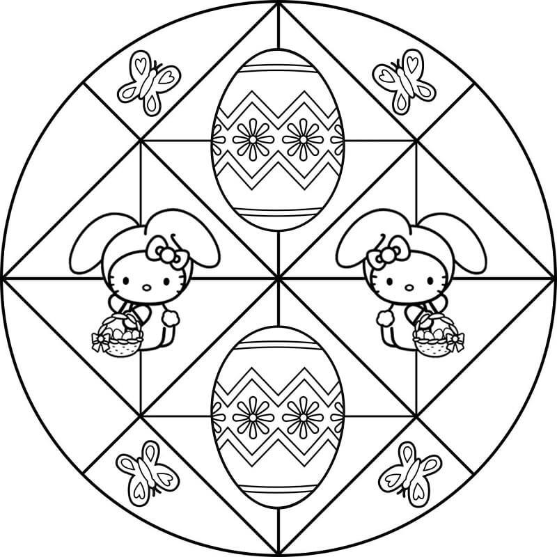 Hello Kitty Easter Mandala