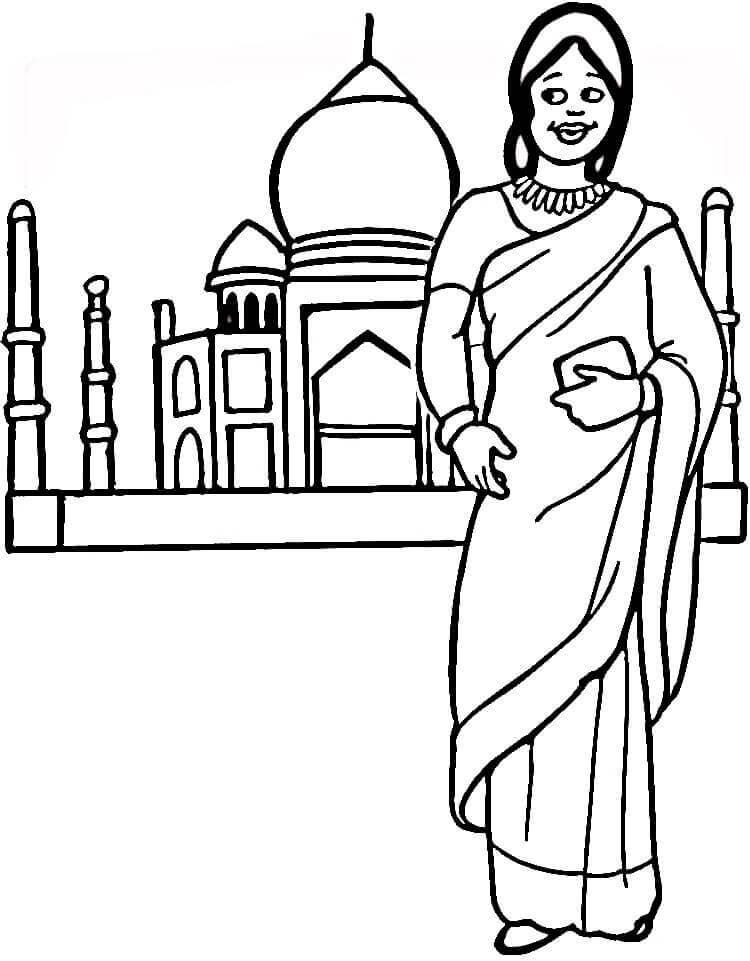 Indian woman and Taj Mahal