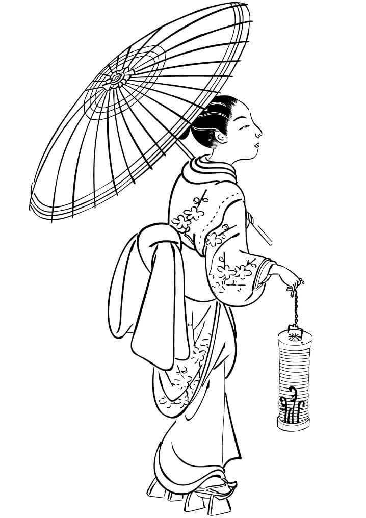Japanese Woman with Umbrella