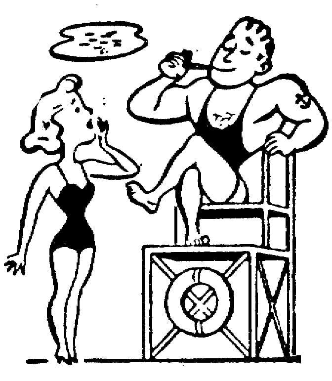 Lifeguard and Woman