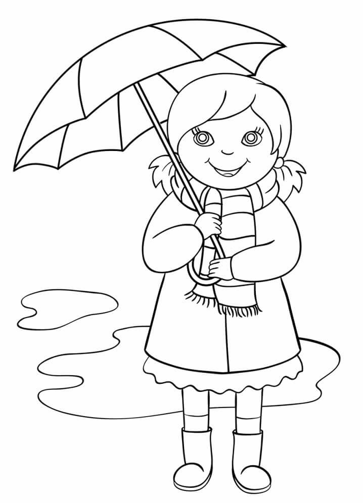 Little Girl Holding Umbrella