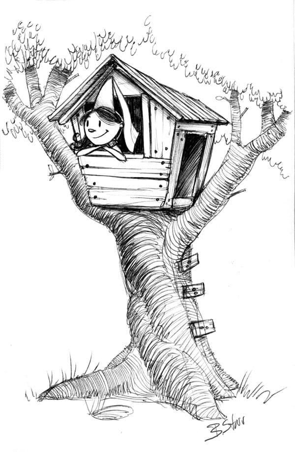 Little Girl in Treehouse