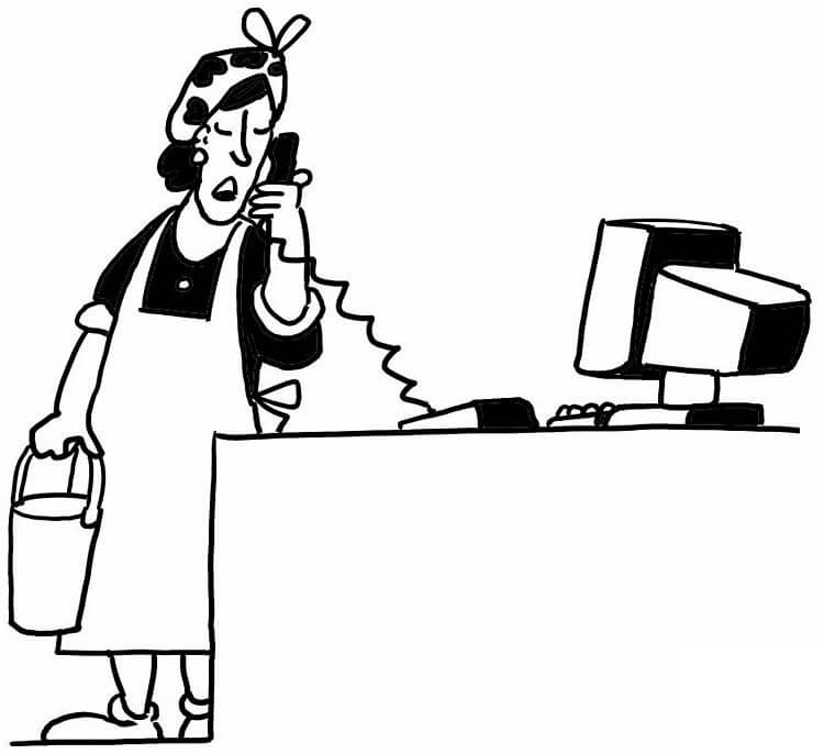Maid Using Phone