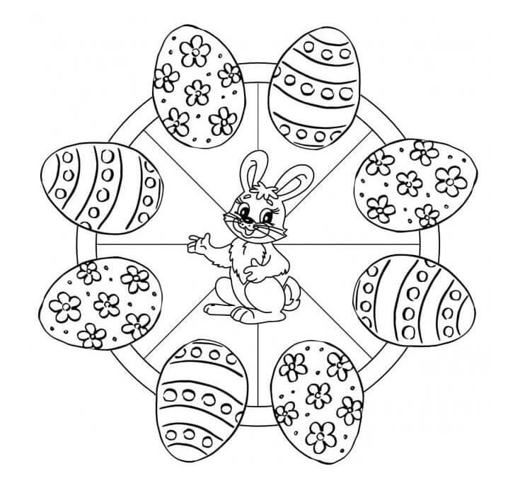 Mandala with Rabbit and Eggs
