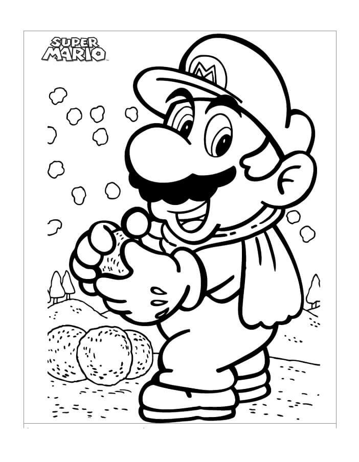 Mario with Snowballs