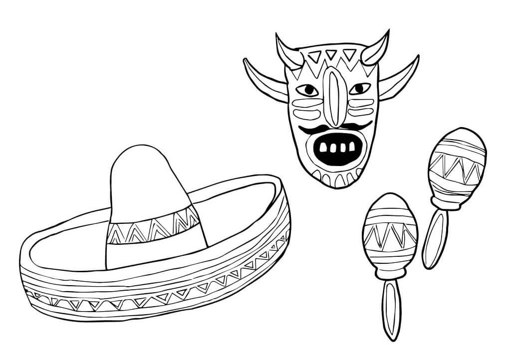 Mask Sombrero and Maracas