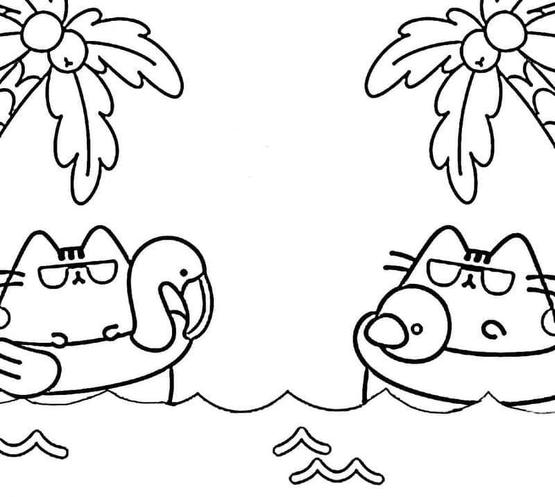 Pusheen Cats Swimming