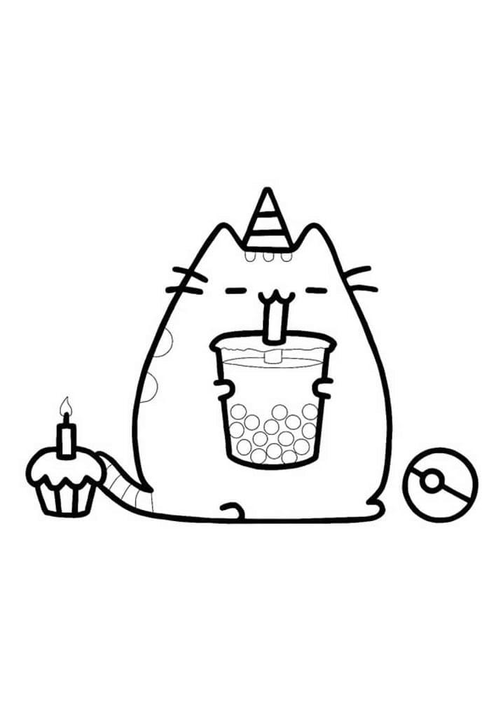 Pusheen Drinking Milktea
