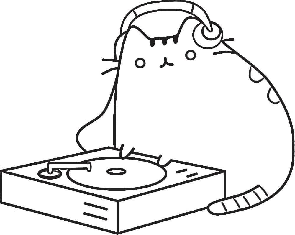 Pusheen Playing Music