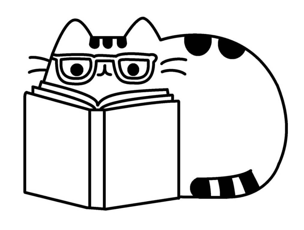 Pusheen Reading Book