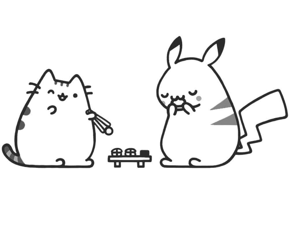 Pusheen and Pikachu