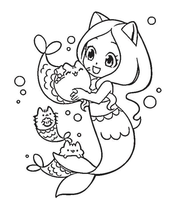 Pusheen with Mermaid
