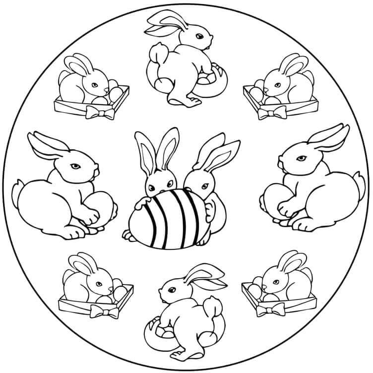 Rabbits Easter Mandala