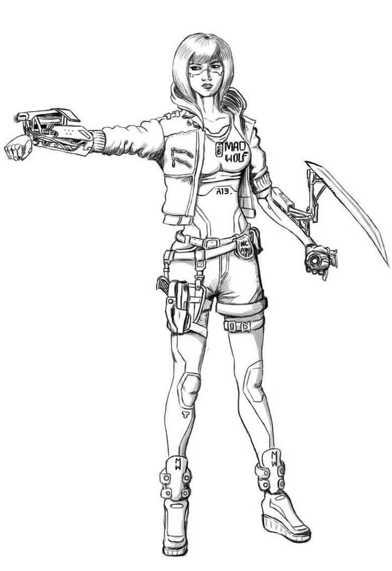 Robot Girl Cyberpunk 2077