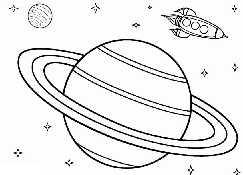 Saturn and Spaceship
