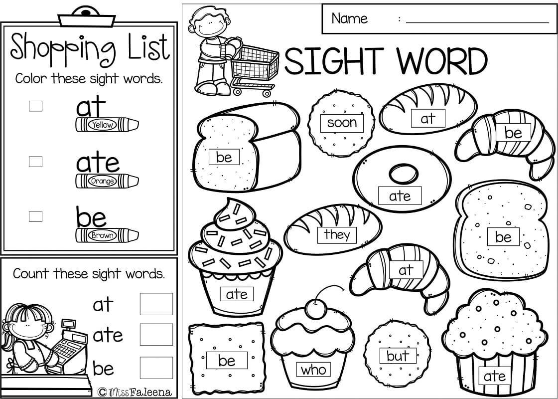 Shopping List Sight Words