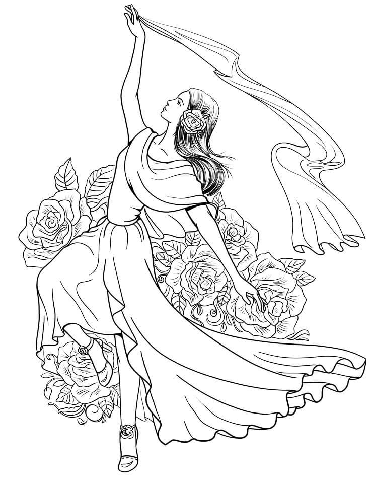 Spanish Woman Dancing Flamenco