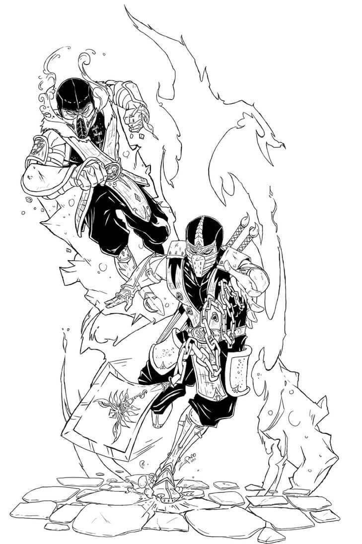 Sub-Zero and Scorpion Fighting