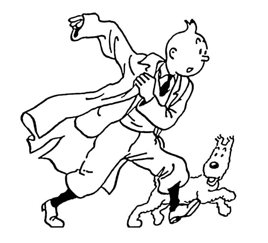 Tintin and Snowy Running