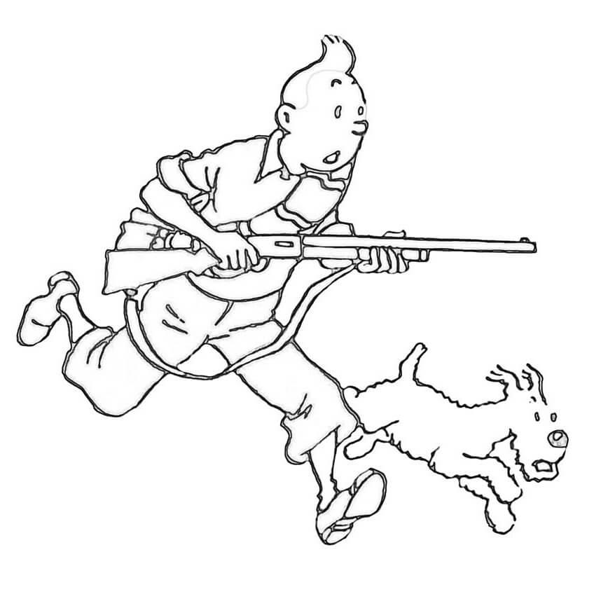 Tintin with Gun