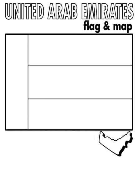 United Arab Emirates Flag and Map