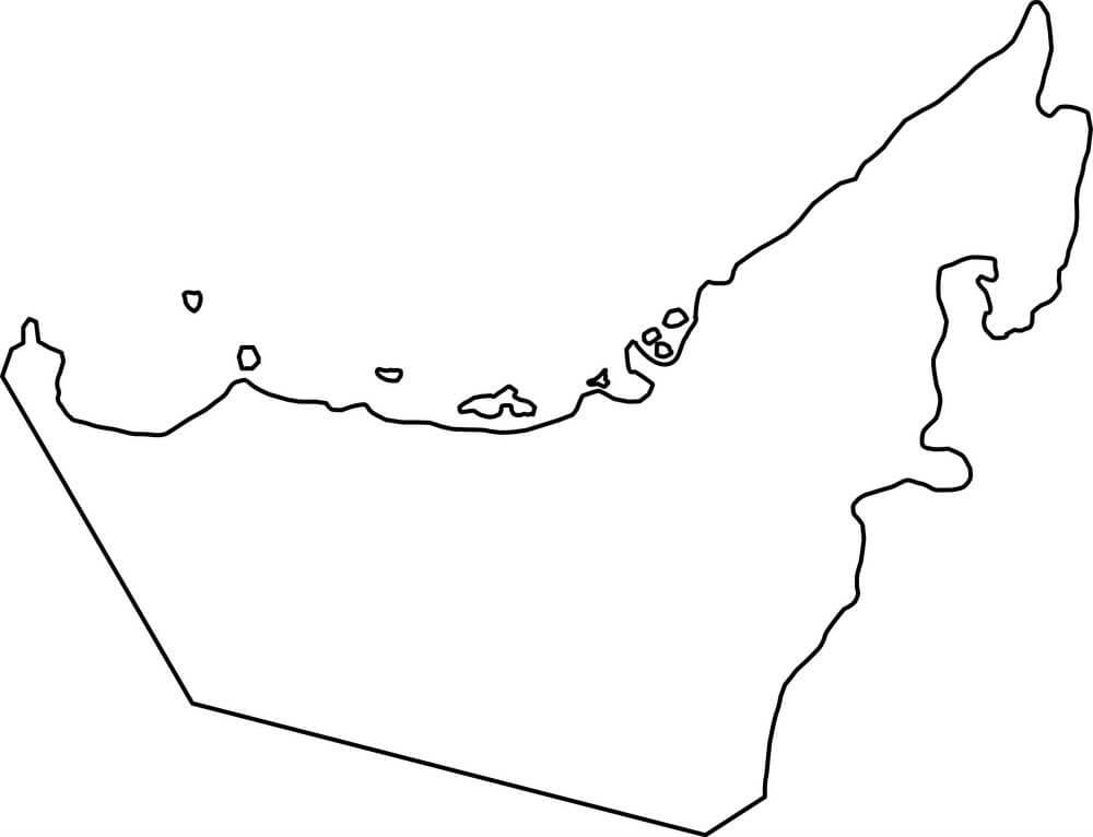 United Arab Emirates Outline Map