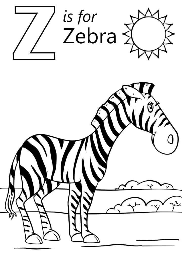 Zebra Letter Z coloring pag
